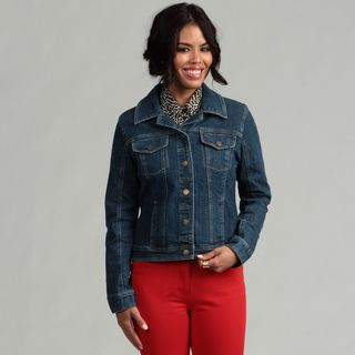 Live A Little Womens Cropped Denim Jacket