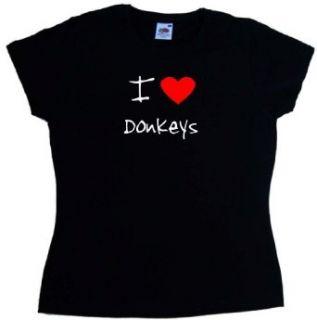 Ich Liebe Esel Damen T Shirt, Schwarz Bekleidung