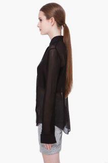 T By Alexander Wang Black Long Sleeve Silk Blouse for women