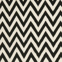 Chevron Dhurrie Black/ Ivory Wool Rug (5 x 8)