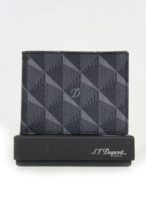 S. T. Dupont Mens Defi Leather ID Wallet, Grey and Black