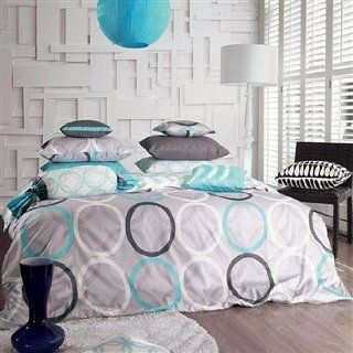 Aqua Blue & Charcoal Gray Ring Duvet Cover Set 1100tc