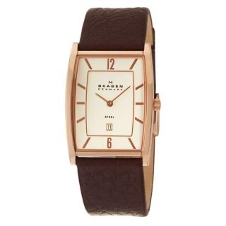 Skagen Mens Modern Rose Goldplated Stainless Steel and Brown