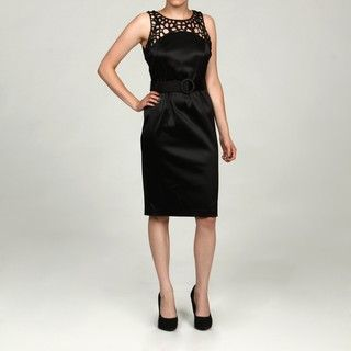 Julian Taylor Womens Crochet Detail Belted Dress