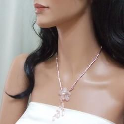 Rose Quartz Silk Thread Flower Necklace (3 5 mm)(Thailand)