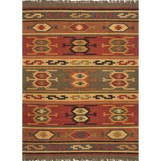 Handmade Flat Weave Tribal Multicolor Jute Rug (8 x 10)