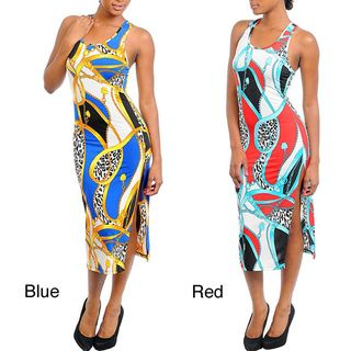 Stanzino Womens Multi Prints Tank Dress with Criss Cross Back