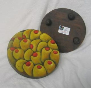 Set of 12 Wood Fruit Coasters (El Salvador)