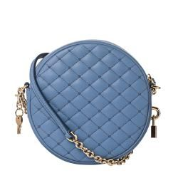 Dolce & Gabbana Baby Blue Quilted Leather Round Cross body Bag