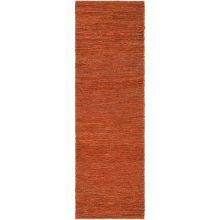 Hand woven Normanna Orange Natural Fiber Hemp Rug (26 x 8