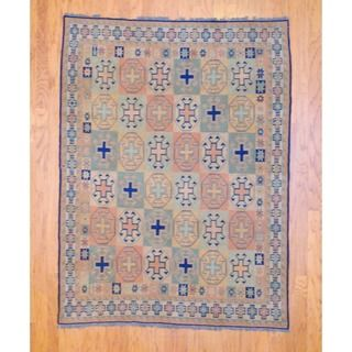 Afghan Hand knotted Tribal Soumak Light Green/ Light Blue Kilim Wool