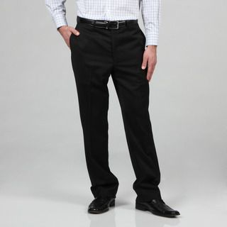 Tommy Hilfiger Mens Trim Fit Black Wool Dress Pants