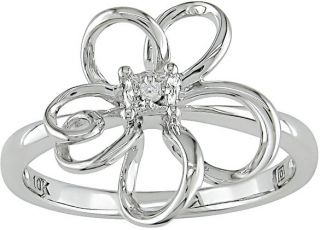 Miadora 10k White Gold Diamond Flower Ring