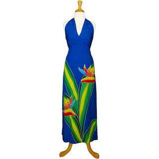 Hand painted Bird of Paradise Long Royal Blue Dress (Indonesia