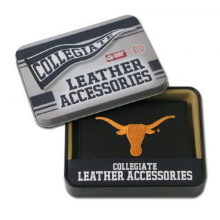 Texas Longhorns Mens Black Leather Tri fold Wallet Today $25.59