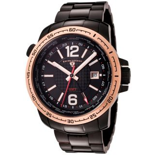 Swiss Legend Mens World Timer Black Ion Plated SS Watch