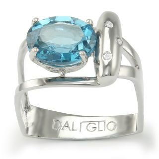 Daliglio Sterling Silver Topaz and 1/30ct TDW Diamond Ring