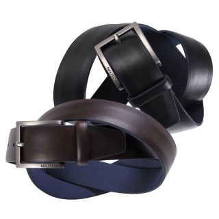 Nautica Mens Domed Feather Edge Genuine Leather Belt