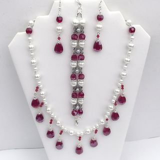 Light Siam Red Teardrop Wedding Jewelry Set