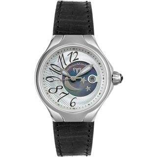 TechnoMarine Womens Black Pearl Leather Watch