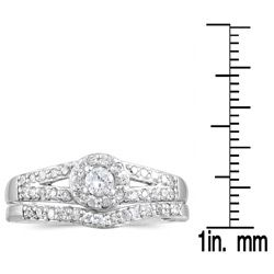 10k White Gold 3/8ct TDW Two Piece Diamond Ring Set