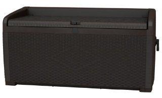 Keter 17186993 Kissenbox XL Rattan Style Storage Box 400L, Kunststoff
