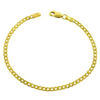 14k Yellow Gold 7 inch Solid Flat Curb Link Bracelet