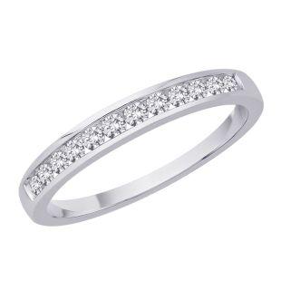 14k White Gold 1/4ct TDW Diamond Womens Wedding Eternity Band (J K
