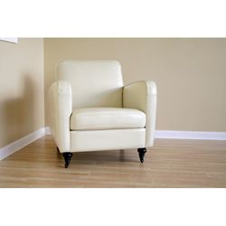 Carter Cream Full Bi cast Leather Club Chair