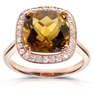 10k Rose Gold 1/5ct TDW Cinnamon Quartz and Diamond Ring (H I, I1 I2