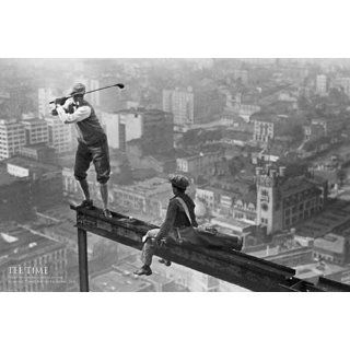 New York   Tee Time, Golfing   Poster schwarz weiss Foto Manhattan New