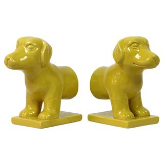 Yellow Ceramic Dog Bookend (Set of 2)