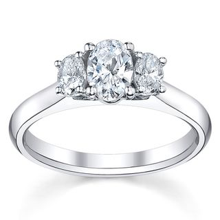 14k White Gold 3/4ct TDW Diamond 3 Stone Engagement Ring (H I, SI1 SI2