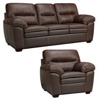 Hawkins Java Brown Italian Leather Sofa and Chair