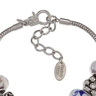 La Preciosa Silvertone Multi Colored Bead and Charm Bracelet