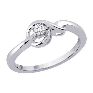 10k White Gold 1/10ct TDW Diamond Knot Ring (G H, I2 I3)