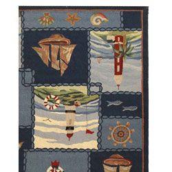 Hand hooked Nautical Blue Wool Rug (89 x 11)