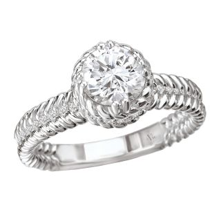 14k White Gold CZ and 1/10ct TDW Diamond Engagement Ring (G H, SI1 SI2