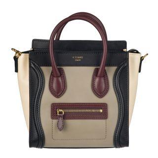 Celine Nano Leather Luggage Tote Handbag