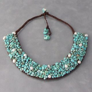 Handmade Mosaic Turquoise/ Pearl Collar Bib Necklace (Thailand