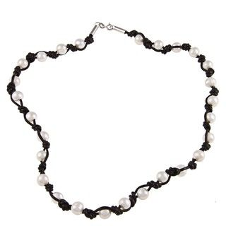 Sterling Silver Freshwater Pearl Leather Necklace (9 10 mm