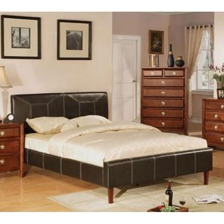 Mirano Dark Brown Bicast Leather Queen Platform Bed