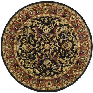 Handmade Heritage Heirloom Black/ Red Wool Rug (8 Round)