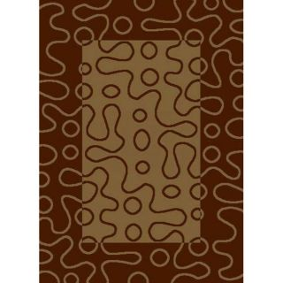 Alexa Cameo Kids Red Border Maze Brown Rug (53 x 79)