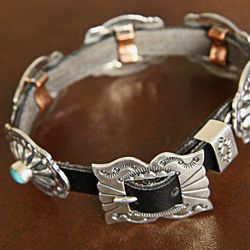 Leather and Silver Turquoise Conchos Bracelet (Native American