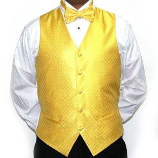 Ferrecci Mens Yellow Four piece Vest Set