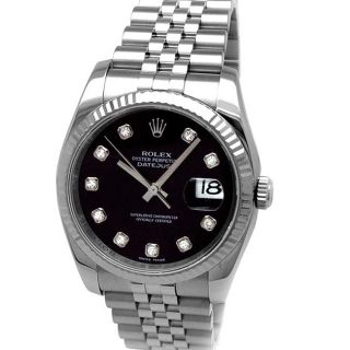 Pre owned Rolex Mens Oyster Perpetual Diamond Watch