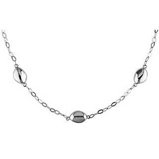 14k White Gold Bean style Bead Necklace