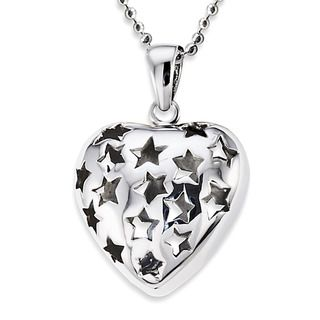 Stainless Steel Star Cutout Heart Necklace