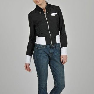 Members Only Womens Nylon Color Block Bomber Jacket